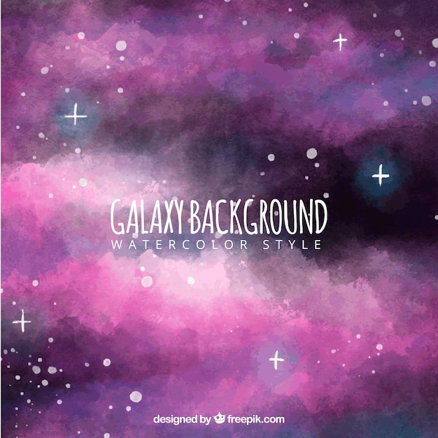 Abstract watercolor galaxy background with purple tones