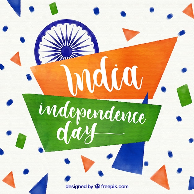 Abstract watercolor india independence day background Free Vector
