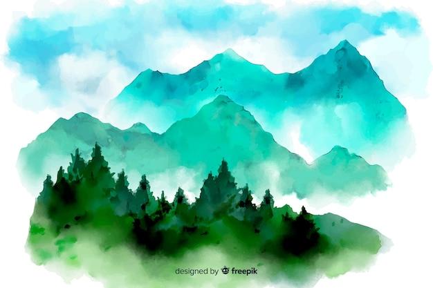 抽象的な水彩風景の背景 無料ベクター