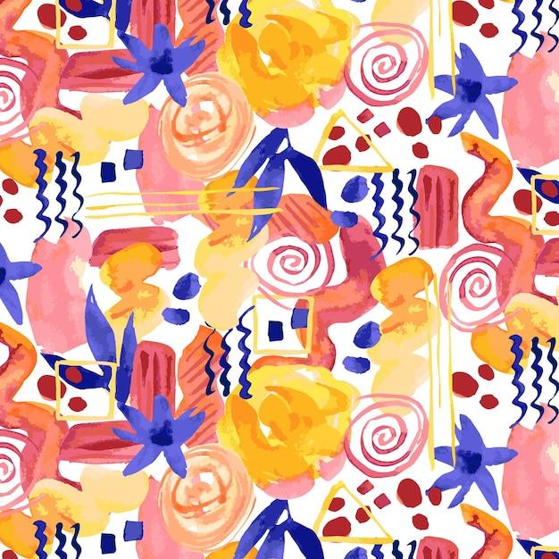 さまざまな形の抽象的な水彩画のシームレスなパターン 無料ベクター