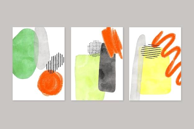 抽象的な水彩図形カバー Premiumベクター