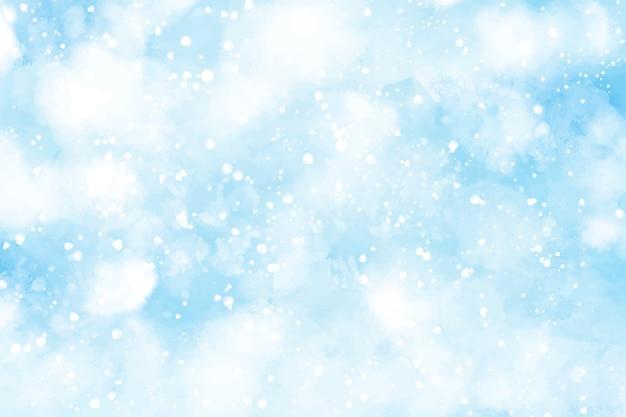 クリスマスと冬に降る抽象的な水彩雪 Premiumベクター
