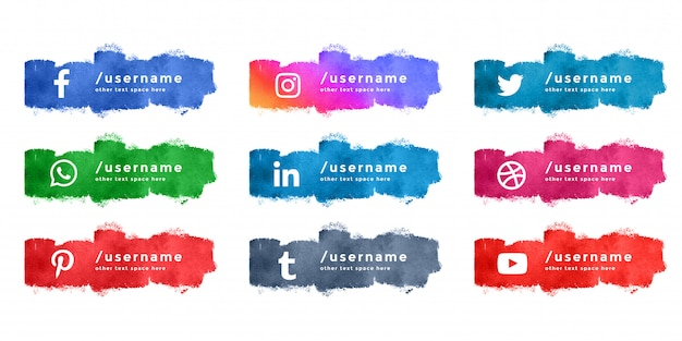Abstract watercolor social media lower third collection Free Vector