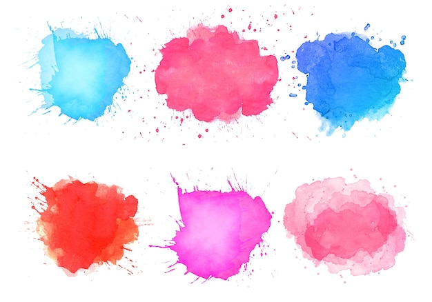 Abstract watercolor splatter stain colorful set design Free Vector
