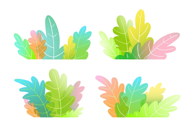 Abstract watercolor style forest trees, bush or leaves colorful cartoon for kids. Premium Vector