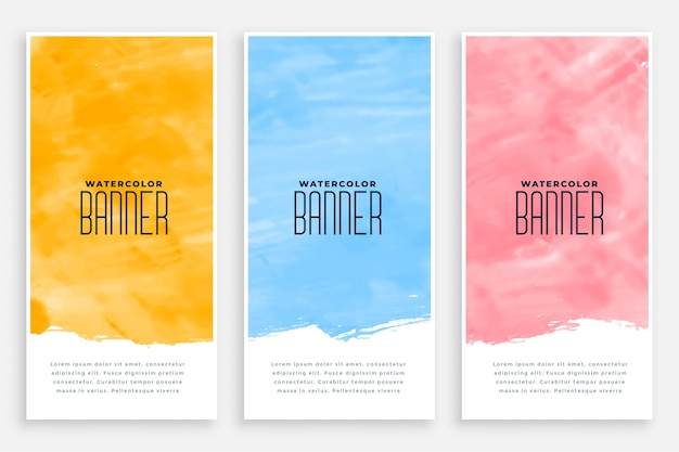 Abstract watercolor vertical banners set of three colors Free Vector