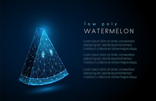 Abstract watermelon slice background with text template.  low poly style design. Premium Vector