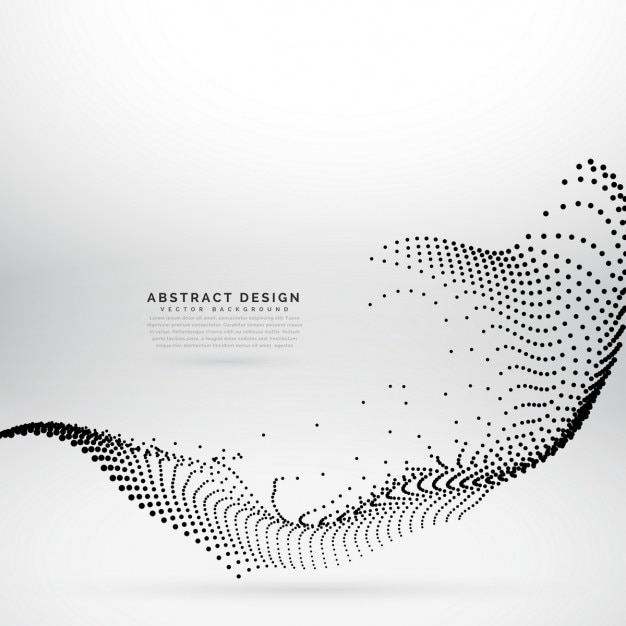 Abstract wave background with dots Free Vector