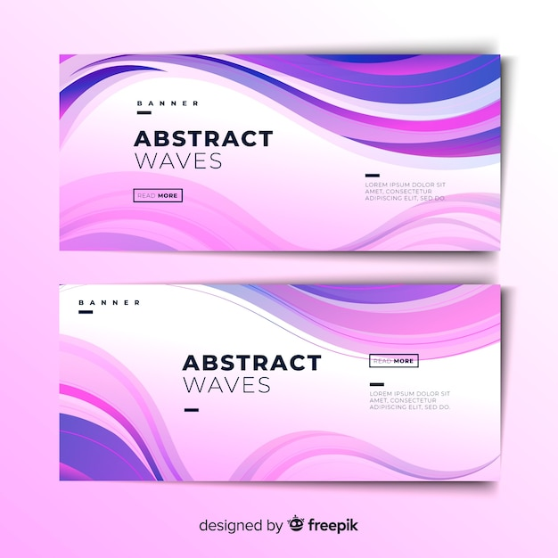 Abstract wave banners Free Vector