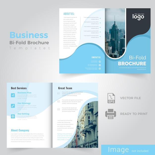 Abstract wave blue bifold brochure design Premium Vector