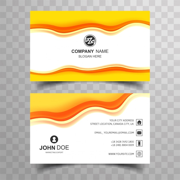 Abstract wave business card set template vector Free Vector