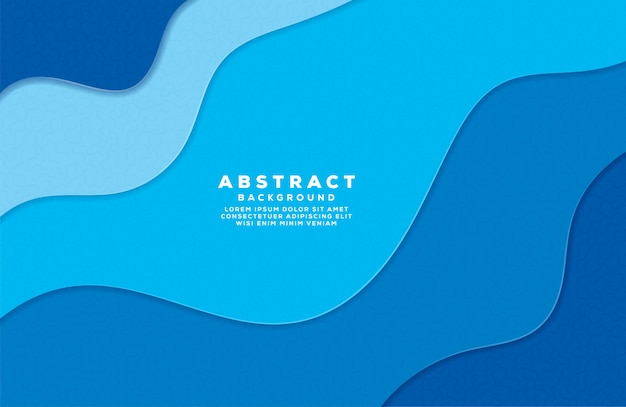 Abstract wave colorful background with paper cut style Premium Vector