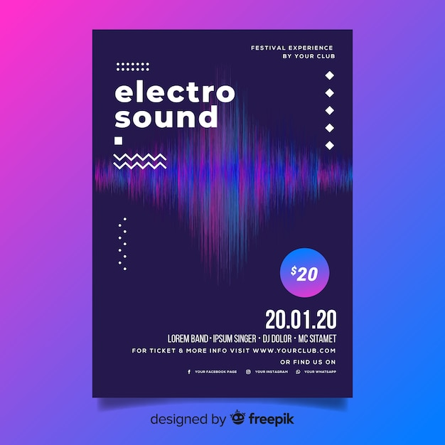 Abstract wave electronic music flyer template Free Vector