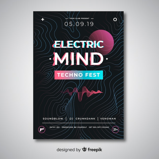 Abstract wave electronic music poster template Free Vector