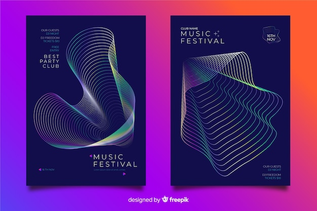 Abstract wave music poster template Free Vector