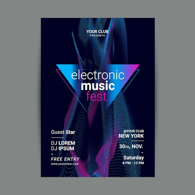 Abstract wave sound music poster template Free Vector