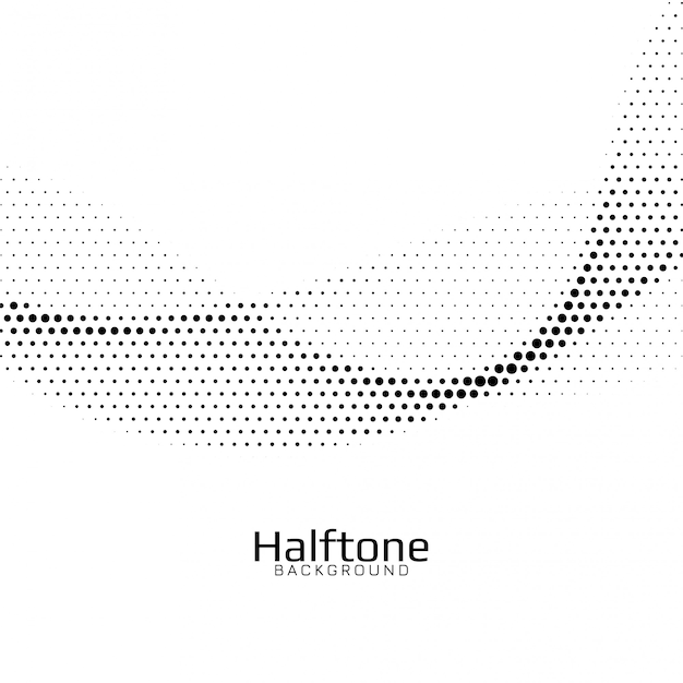 Abstract wave style halftone background Free Vector