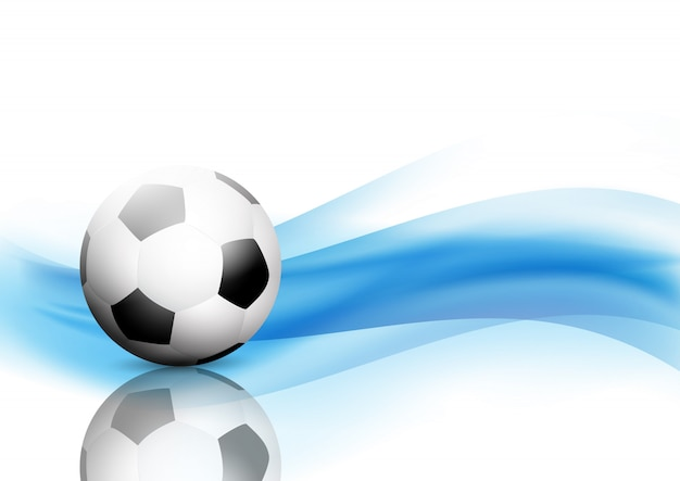 Abstract waves background with football / soccer ball Free Vector