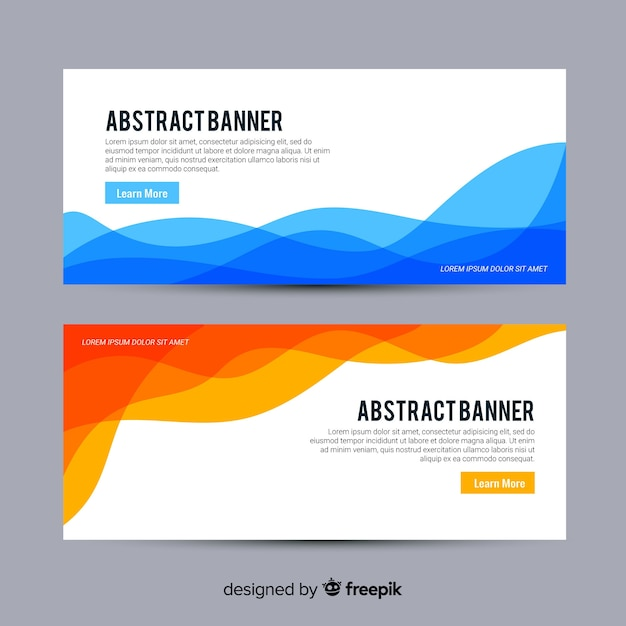 Abstract Waves Banner Set Vector Free Download