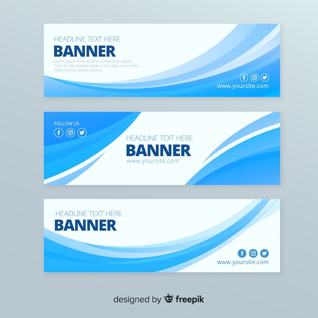 Abstract waves banner set Free Vector