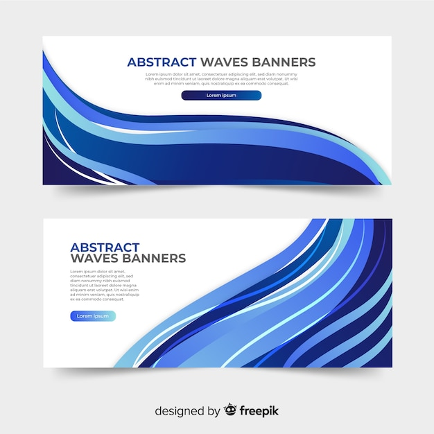 Abstract waves banners Free Vector