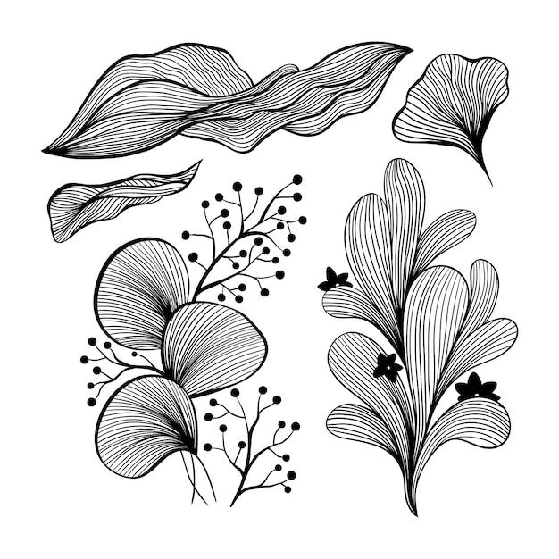 壁紙と壁のアートデザインの抽象的な波の黒と白のラインアート装飾セット。 無料ベクター