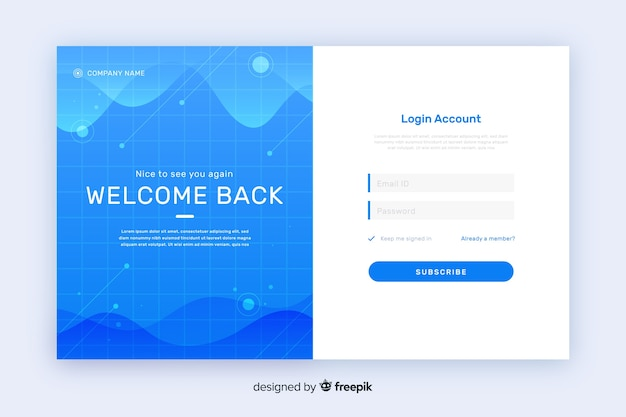 Abstract waves log-in landing page Free Vector
