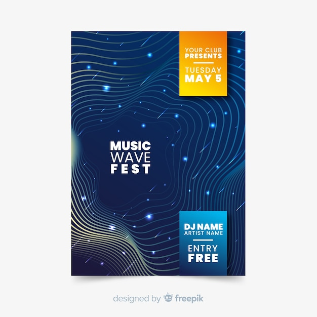 Abstract waves music poster template Free Vector