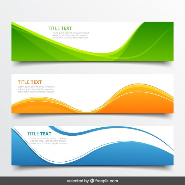 Abstract wavy banners Vector | Free Download