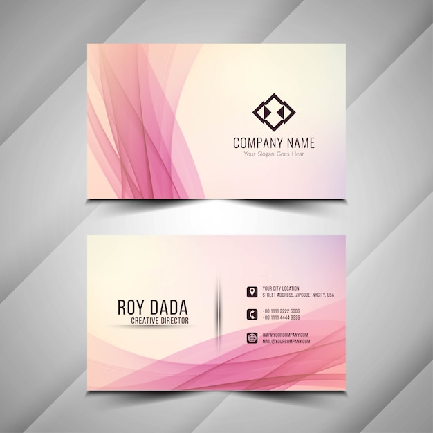 Abstract wavy elegant business card template Free Vector