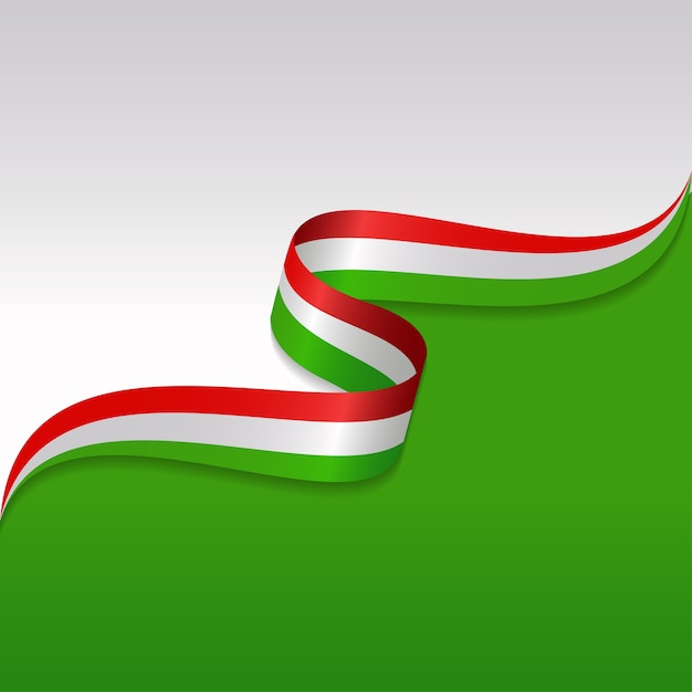 Abstract wavy flag of the italian with ribbon style Premium Vector