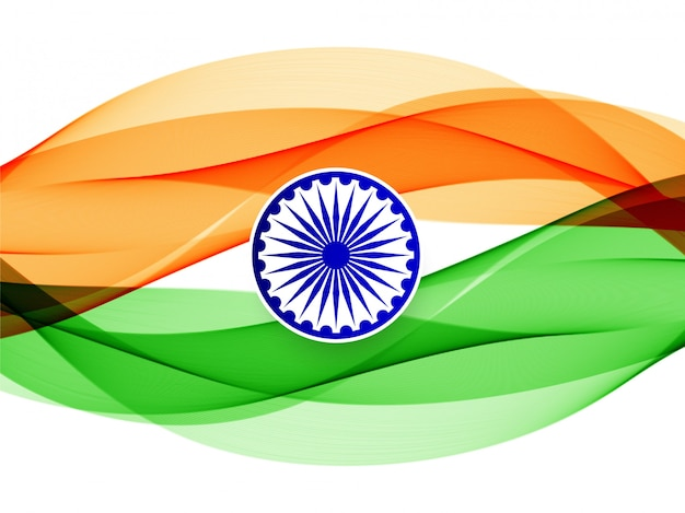 Abstract wavy indian flag  background Free Vector