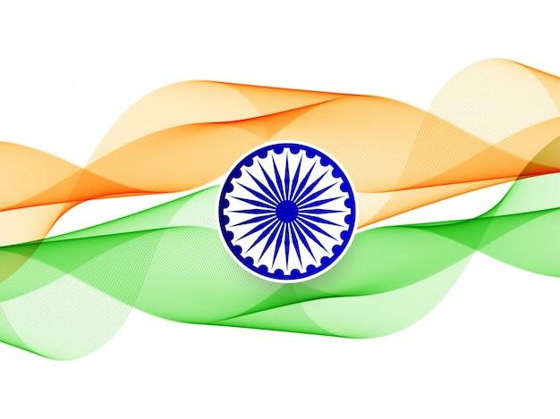 Insegna ondulata astratta della bandiera indiana Vettore gratuito