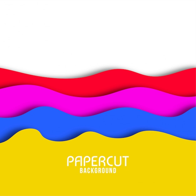 Abstract wavy paper cut elegant background Free Vector