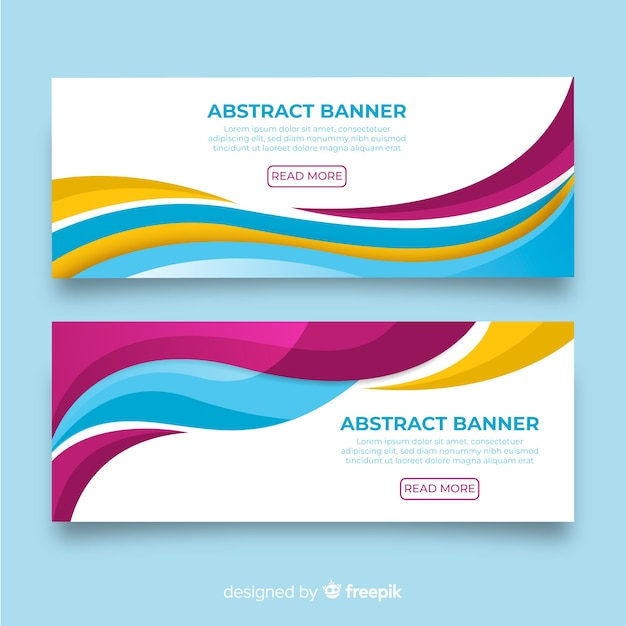 Abstract wavy shapes banner Free Vector