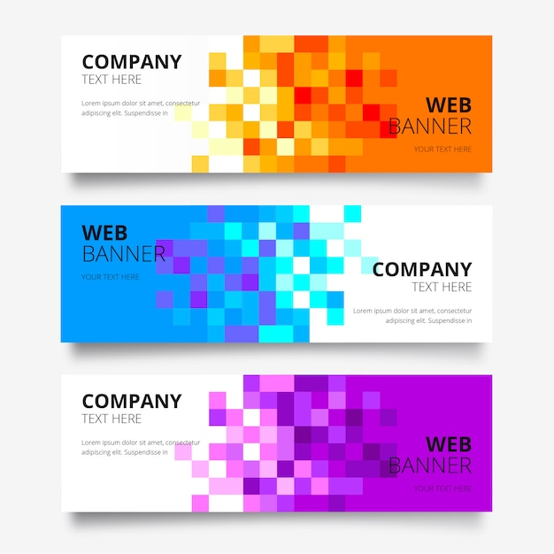 Abstract web banner collection Free Vector