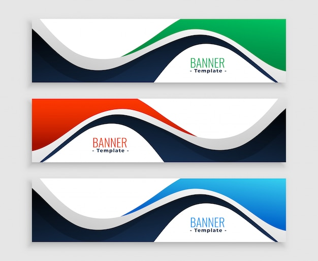 Abstract web banners set in wavy shape styles Free Vector