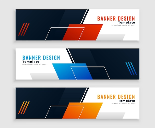 Abstract web business banners or headers set Free Vector