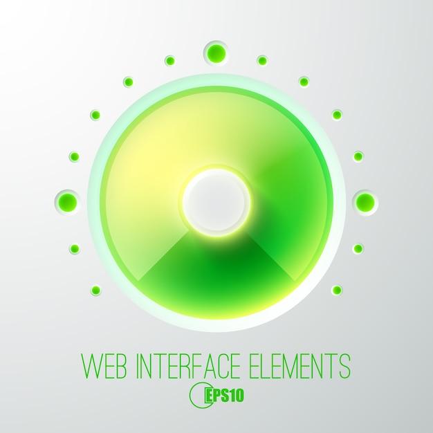Абстрактная веб-концепция с кнопкой громкости зеленого света Бесплатные векторы