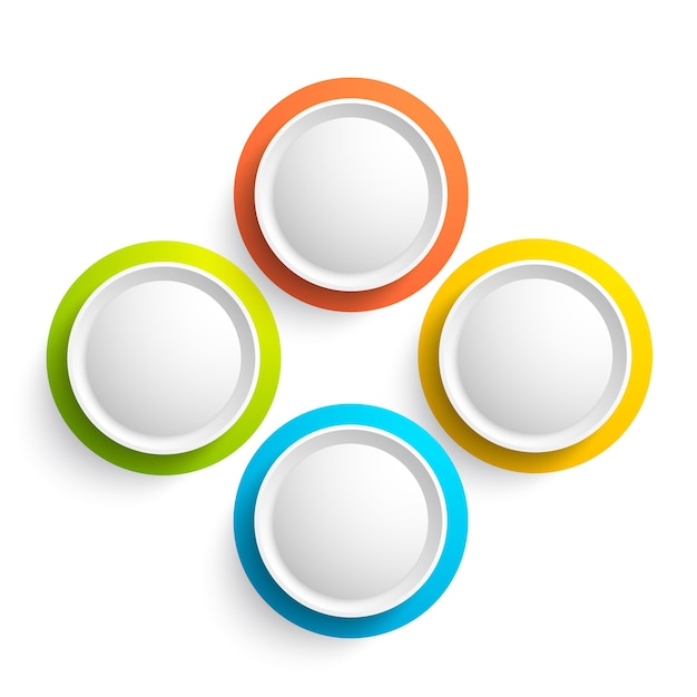 Raccolta di elementi web astratta con quattro pulsanti rotondi colorati su bianco isolato Vettore gratuito