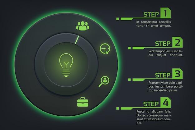 둥근 버튼 녹색 백라이트 옵션 및 아이콘 추상 웹 infographic 개념 무료 벡터