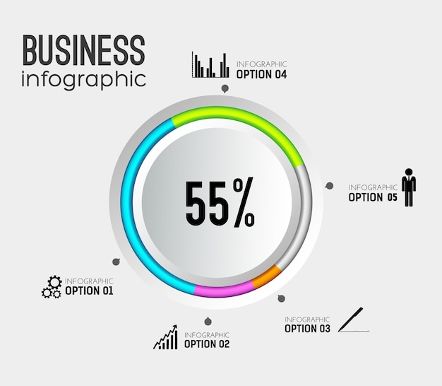 Абстрактная веб-инфографика с серыми круглыми кнопками, красочными окантовками бизнес-значков и пятью вариантами Бесплатные векторы