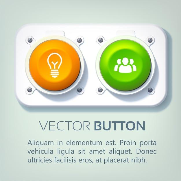 金属パネルのカラフルな丸いボタンと分離されたビジネスアイコンと抽象的なウェブインフォグラフィック 無料ベクター