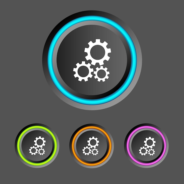 Абстрактная веб-инфографика с круглыми кнопками, красочными кольцами и значками шестерен Бесплатные векторы