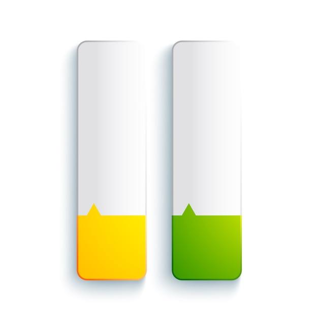 Concetto di elementi rettangolari web astratto con banner verticali vuoti nei colori gialli e verdi isolati Vettore gratuito