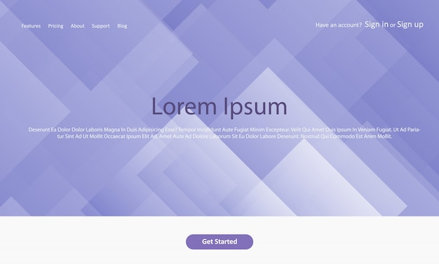 Abstract website landing page with geometric design Free Vector