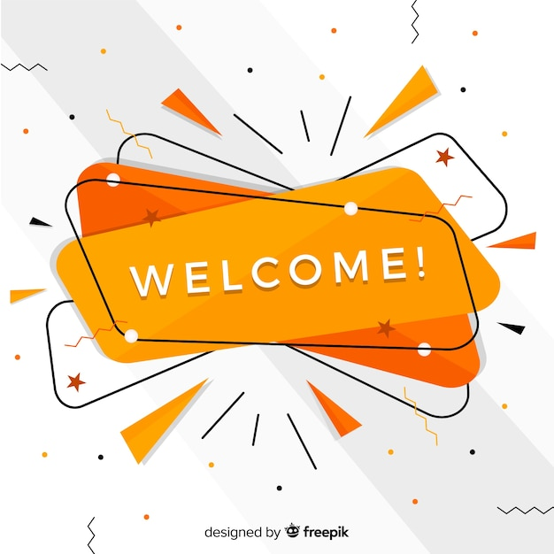 Abstract welcome composition with flat design Free Vector