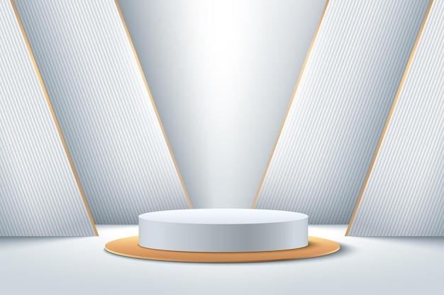 제품에 대한 추상 흰색과 금색 라운드 디스플레이. 미래의 3d 렌더링 기하학적 모양 실버 색상입니다. 프리미엄 벡터
