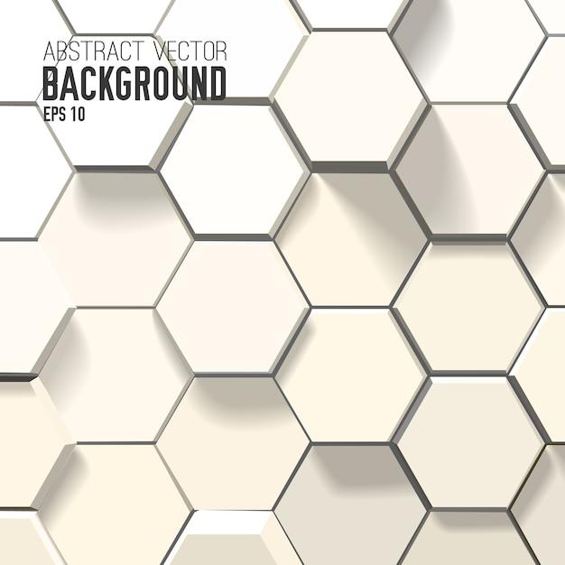 幾何学的な六角形の抽象的な白い背景 無料ベクター