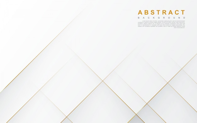 Abstract white background with gold line Premium Vector